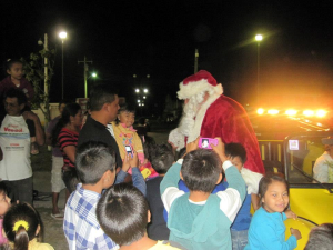 Santa shows up
